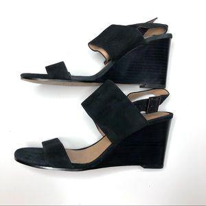 Halogen Aster Black Suede Wedge Sandals Size 7